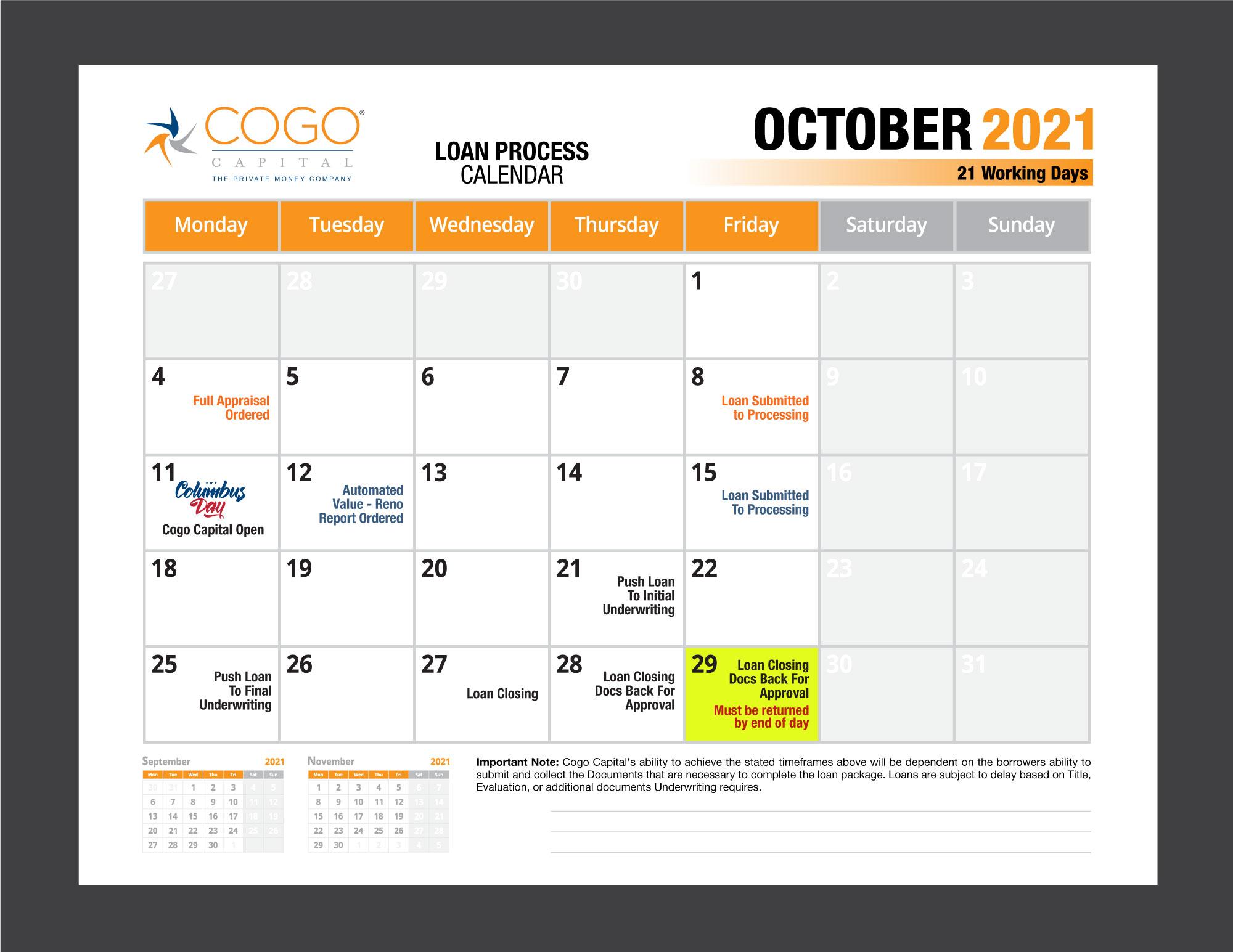 Cogo Loan Process Calendar - October