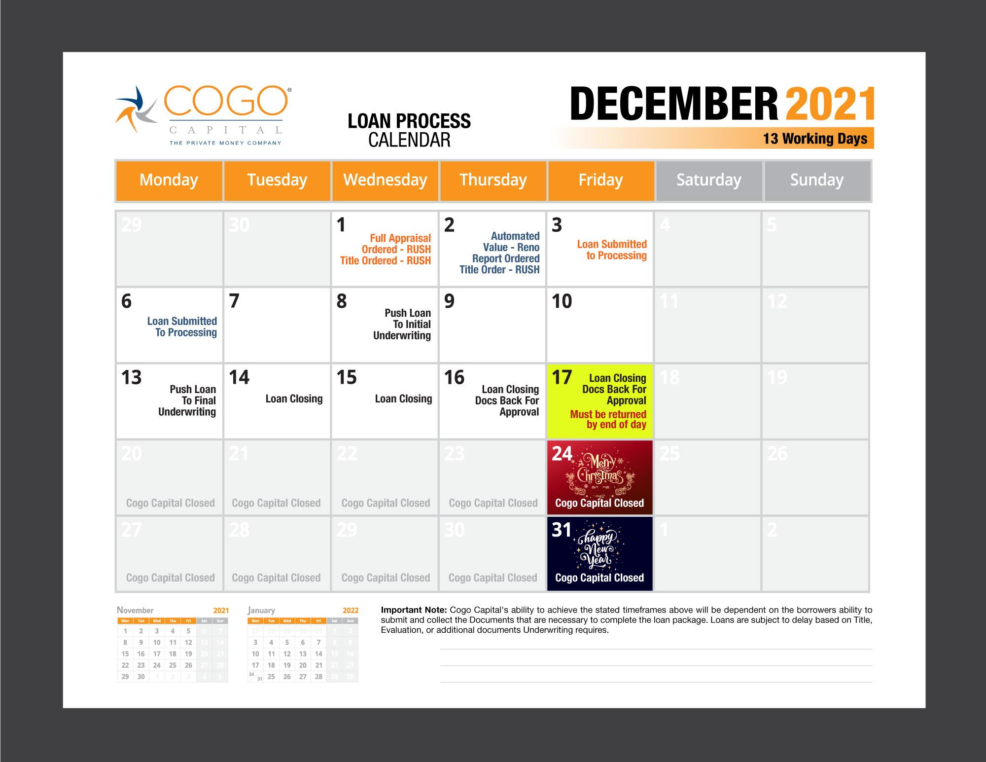Cogo Loan Process Calendar - December